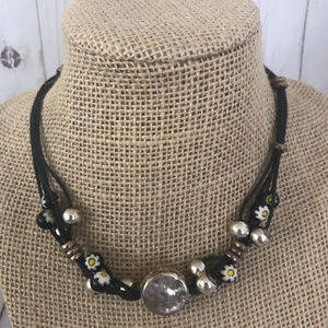 """Jewelry - Sterling Silver Daisy Flower Black Necklace 14"""""""